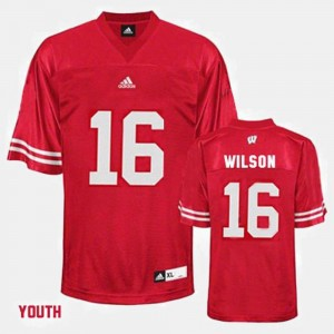 Russell Wilson Wisconsin Jersey Red #16 College Football Kids 301726-841