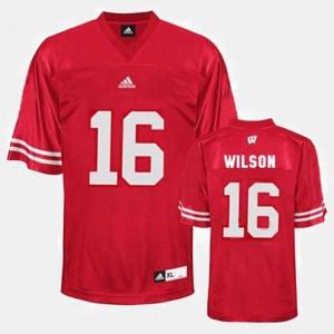 College Football Men's Russell Wilson Wisconsin Jersey Red #16 263748-746
