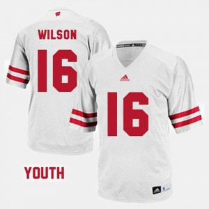 Russell Wilson Wisconsin Jersey White For Kids #16 College Football 495514-858