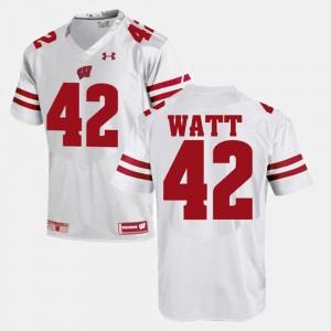 #42 For Men's T.J Watt Wisconsin Jersey Alumni Football Game White 135957-679