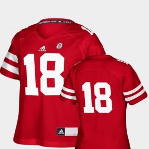 Replica Nebraska Jersey #18 College Football For Women's Scarlet 471480-965