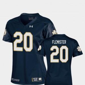 #20 Navy Replica C'Bo Flemister Notre Dame Jersey College Football Ladies 619840-596
