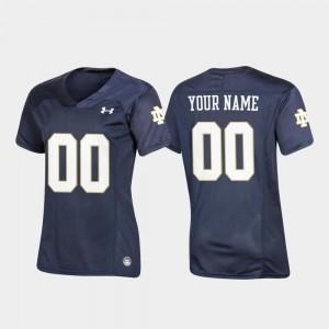 Replica Navy #00 Football Notre Dame Customized Jersey Women 136411-846