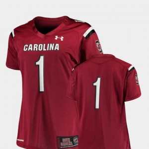 #1 College Football Garnet For Women's South Carolina Jersey Finished Replica 376375-996