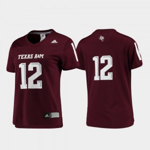 Replica #12 Maroon Football For Women Texas A&M Jersey 696782-519