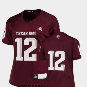 Replica Maroon #12 College Football Texas A&M Jersey Women's 590384-574