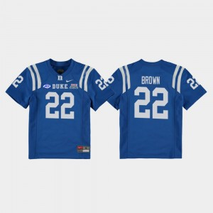 Kids Royal 2018 Independence Bowl #22 College Football Game Brittain Brown Duke Jersey 483244-373