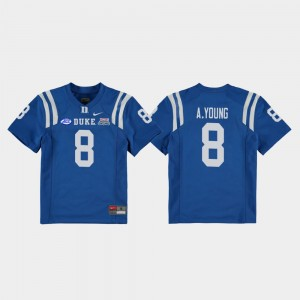 Aaron Young Duke Jersey For Kids College Football Game #8 Royal 2018 Independence Bowl 330536-469