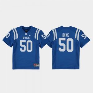 College Football Austin Davis Duke Jersey Royal #50 For Kids Replica 984617-439