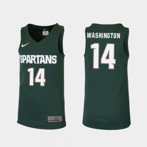 College Basketball #14 Brock Washington MSU Jersey Green Replica Kids 843854-762