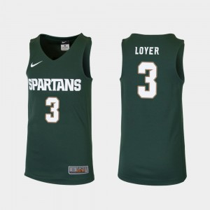 Replica #3 Foster Loyer MSU Jersey Green College Basketball Youth(Kids) 546969-850