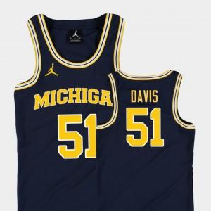 Replica College Basketball Jordan Austin Davis Michigan Jersey Kids Navy #51 482206-207