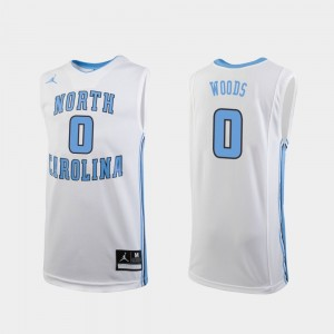 Seventh Woods UNC Jersey Replica College Basketball Youth White #0 481154-379