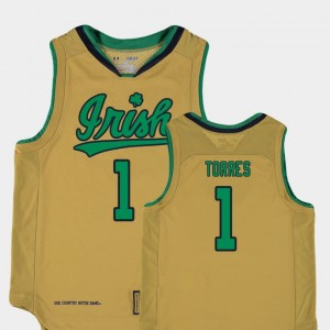 Replica Youth #1 Austin Torres Notre Dame Jersey College Basketball Special Games Gold 331909-297