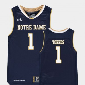Replica Austin Torres Notre Dame Jersey College Basketball Navy #1 Youth(Kids) 251118-900