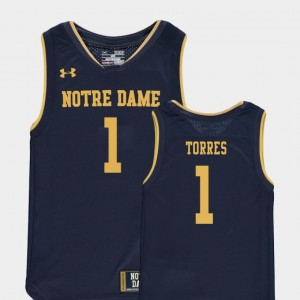 Kids Austin Torres Notre Dame Jersey Replica #1 Navy College Basketball Special Games 140079-595