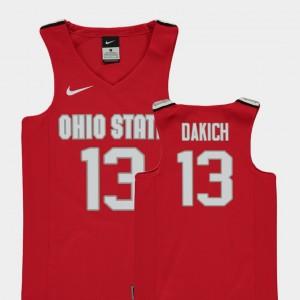 College Basketball #13 For Kids Replica Red Andrew Dakich OSU Jersey 255843-497