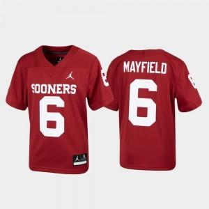 Alumni Football Replica #6 Baker Mayfield OU Jersey Crimson Kids 629739-781
