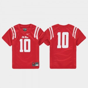 Replica Red Ole Miss Jersey Football #10 Youth(Kids) 668483-259