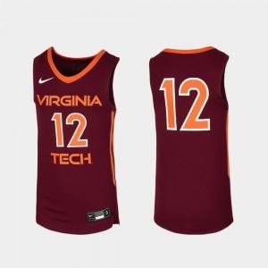 #12 Youth(Kids) Maroon Replica Virginia Tech Jersey Basketball 794932-272