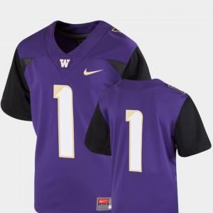 Washington Jersey For Kids #1 College Football Team Replica Purple 711243-138
