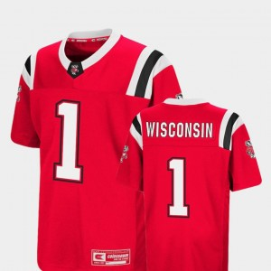 Colosseum #1 Foos-Ball Football Wisconsin Jersey Red Youth 275822-197