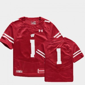 Finished Replica College Football Red Youth(Kids) #1 Wisconsin Jersey 665154-768